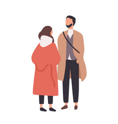 young stylish man and woman standing and talking vector image