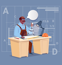 cartoon african american builder sitting at desk vector image