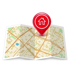 City map with label home pin vector image