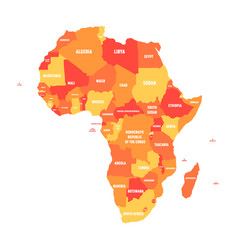 orange political map of africa vector image vector image