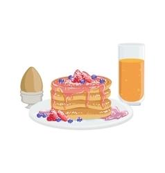Pancakes Egg And Orange Juice Breakfast Food vector image vector image