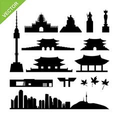 Seoul South Korea landmark silhouettes vector image