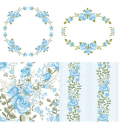 blue roses set vector image