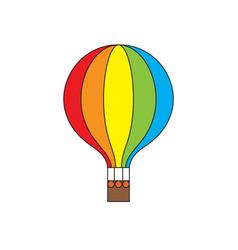 hot air balloon rainbow colors icon vector image