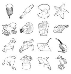 ocean animals fauna icons set outline style vector image vector image