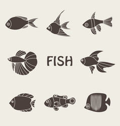 tropical fishes icon vector image vector image