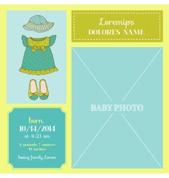 Baby Arrival Card - with Baby Girl Dress vector image vector image