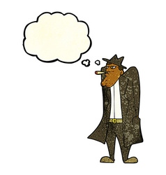 cartoon man in hat and trench coat with thought vector image vector image