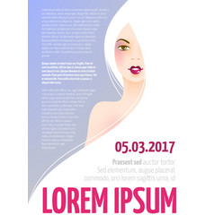 design template with face of a beautiful woman vector image vector image