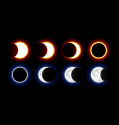 different phases of solar and lunar eclipses vector image