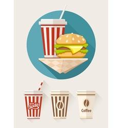 Hamburger and soda in paper vector image