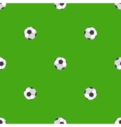 Soccer balls over green field seamless pattern vector image vector image