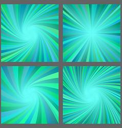 Teal spiral and ray burst background design set vector image vector image