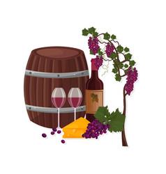 wine barrel and grapes vine templates vector image