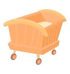 Wooden baby cot icon cartoon style vector image