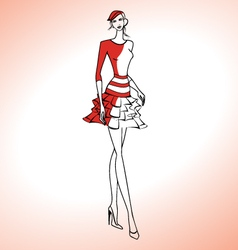 Woman silhouette in red dress and beret vector image vector image
