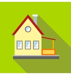 Wooden house on the nature icon flat style vector image