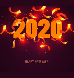 2020 happy new year greeting with gold confetti vector image