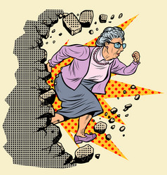 Active old granny pensioner breaks the wall vector