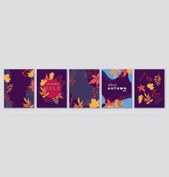 Autumn backgrounds banners cards abstract vector