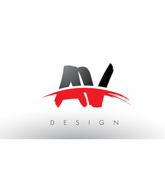 Av a v brush logo letters with red and black vector