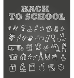 Back to scholl chalk doodles Education elements vector