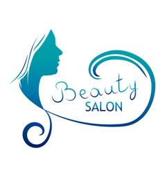 Beautiful female face portrait - beauty salon vector