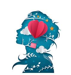 beautiful girl cartoon paper air vector image