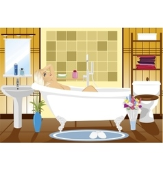 Beautiful woman relaxing in spa bath at home vector