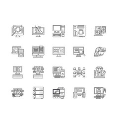 big data line icons signs set outline vector image