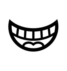 big happy toothy cartoon smile icon vector image