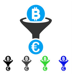 Bitcoin euro conversion funnel flat icon vector