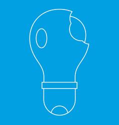 Broken lightbulb icon outline vector