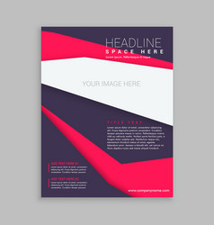 Business brochure flyer template in purple and vector