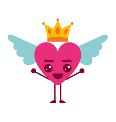 Cartoon heart in love happy kawaii wings and crown vector
