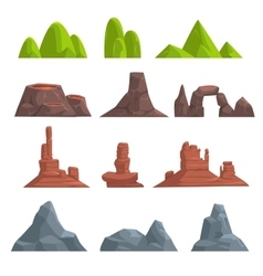 Cartoon hills and mountains set vector
