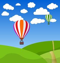 Cartoon Retro Air Balloon On Blue Sky and Green vector image