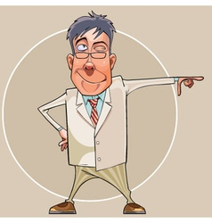 cartoon smiling man in a suit and glasses showing vector image