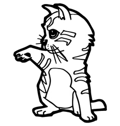 Cat and kitten Coloring Page for kid vector image