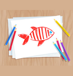 child drawing fish vector image