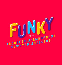 childrens style font design colorful alphabet vector image