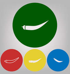 chilli pepper sign 4 white styles of icon vector image