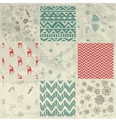 Christmas Seamless Background Set on Crumple Paper vector