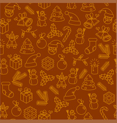 christmas thin line icon seamless pattern vector image