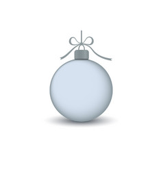 christmas tree ball with ribbon bow silver bauble vector image