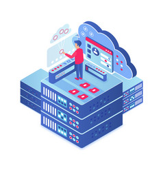 cloud computing isometric vector image