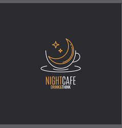 coffee cup logo night with moon linear vector image