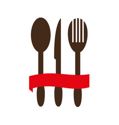 Color silhouette with cutlery and ribbon vector
