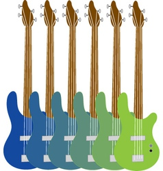 Colourful bass guitars vector