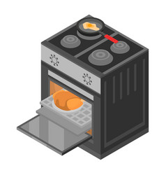 cooker stove icon isometric style vector image